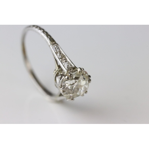 3 - Diamond solitaire unmarked white gold ring, the cushion cut diamond weighing approximately 1.25 cara...