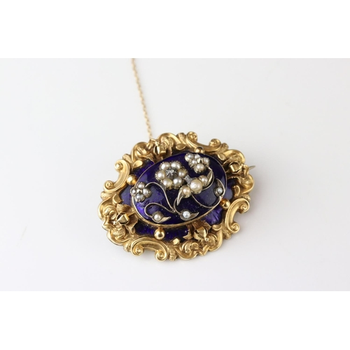 40A - Victorian diamond, seed pearl and enamelled yellow metal brooch, the central raised blue enamelled p...