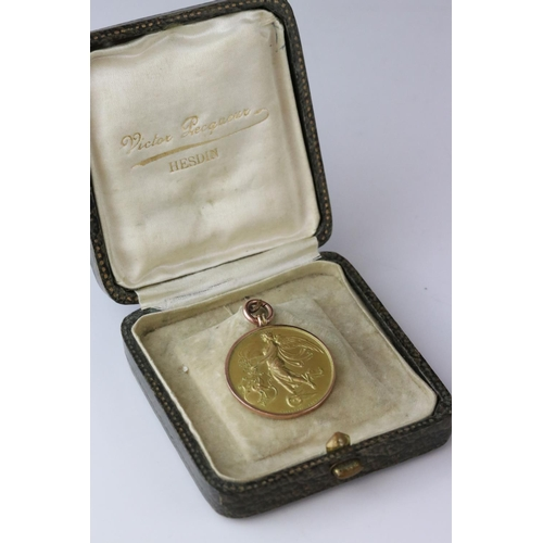 50A - Early 20th century 9ct yellow gold Mersey Liverpool Motor Club medallion in rose metal pendant mount...
