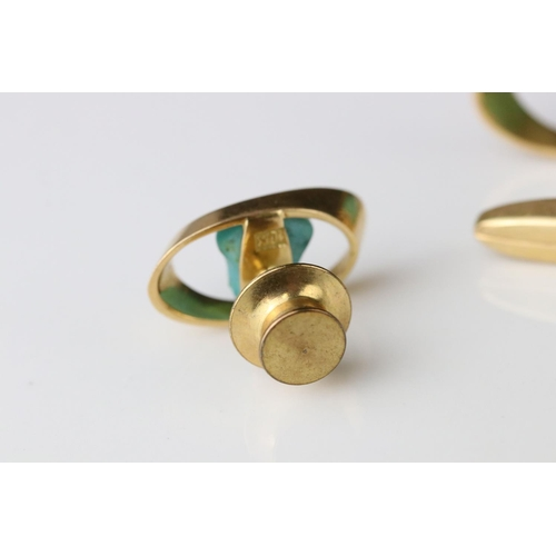 7 - Pair of turquoise 18ct yellow gold cufflinks together with matching tie pin, tumbled turquoise stone...
