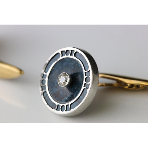 8 - Pair of diamond and serpentine 18ct yellow and white gold cufflinks, small round old cut diamond to ...