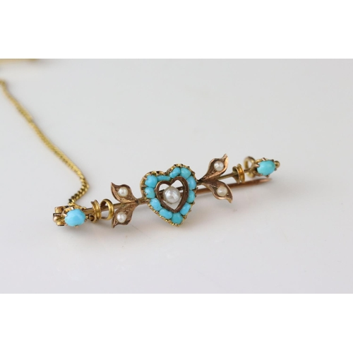 90A - German 19th century turquoise and seed pearl 8ct gold sweetheart brooch, the central heart-shaped mo...