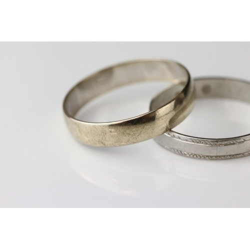 107 - 9ct white gold plain polished wedding band, width approx 4mm, ring size R (needs rhodium plating) to...