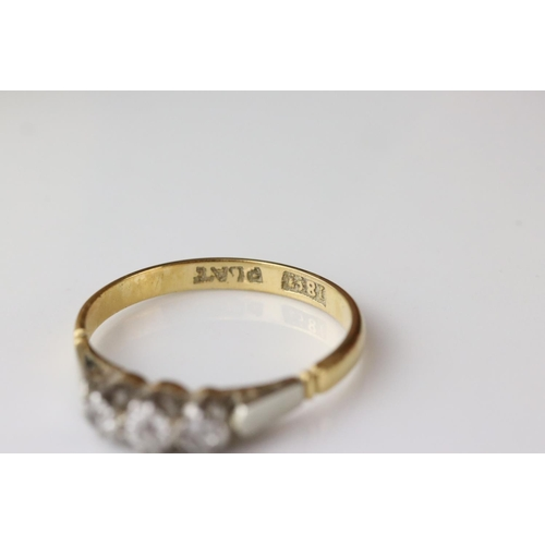 111 - Three stone diamond 18ct yellow gold and platinum ring together with two ladies Rotary 9ct yellow go...