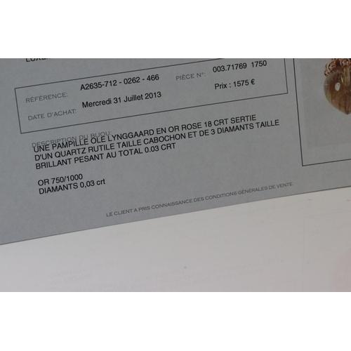 112 - Ole Lynggaard rutilated quartz and diamond 18ct rose gold pendant, the tapered rutiled quartz measur...