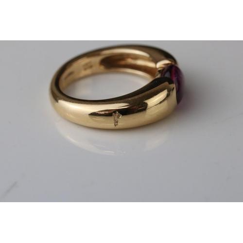 12 - Pomellato tourmaline 18ct yellow gold ring, the cabochon cut asymmetric pink tourmaline measuring ap...