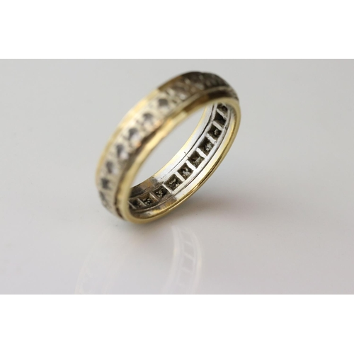 120A - White sapphire yellow metal eternity ring, ring size P½