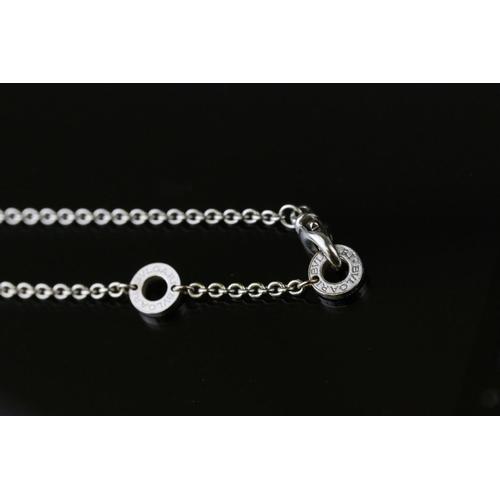 136 - Bulgari B.Zero1 18ct white gold bracelet, the fine chain set with four Bulgari logo disc spacers and...