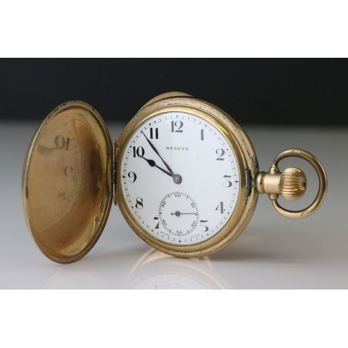 138 - Gold plated full hunter Stayte pocket watch, white enamel dial and subsidiary dial, black Arabic num...