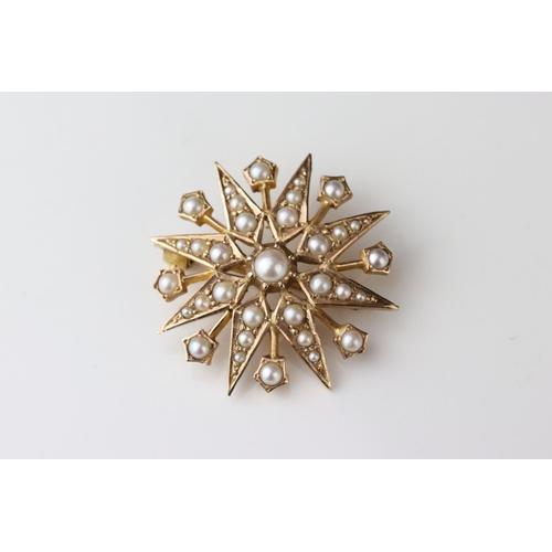 149 - Pearl 9ct yellow gold sunburst pendant brooch, full set with thirty-three graduated seed pearls, bro...