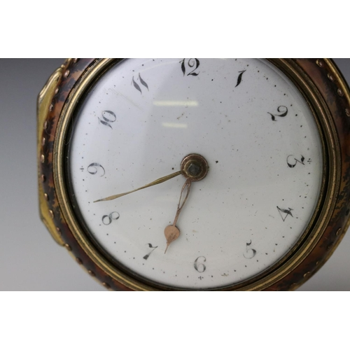 150A - Georgian pair case key wind fusee pocket watch, the gilt brass pocket watch with white enamel dial, ...