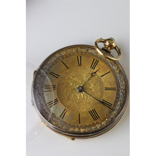 153 - 18ct gold cased open face key wind pocket watch, J H Steward, London, floral and scroll engraved dec...