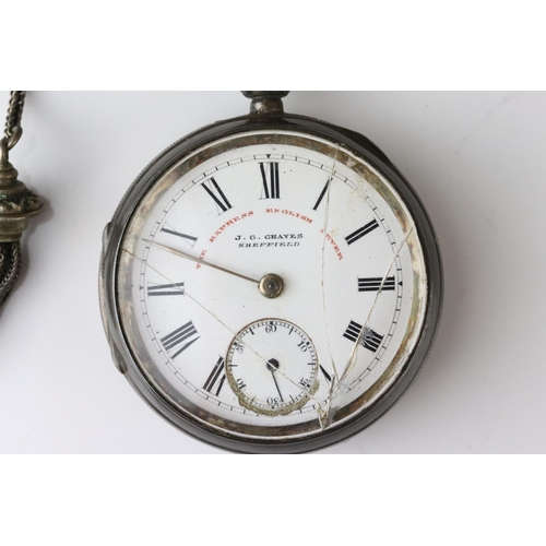 154 - Victorian silver open face key wind pocket watch, J G Graves Sheffield, white enamel dial and subsid...