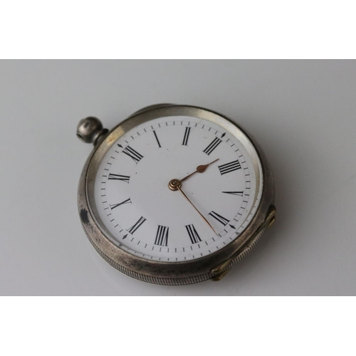 155 - E D Johnson white metal key wind open face pocket watch, white enamel dial and subsidiary dial, blac...