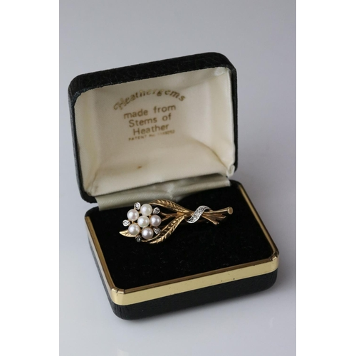165 - Pearl and diamond 9ct yellow and white gold floral spray brooch, five cream pearls with pink lustre,...