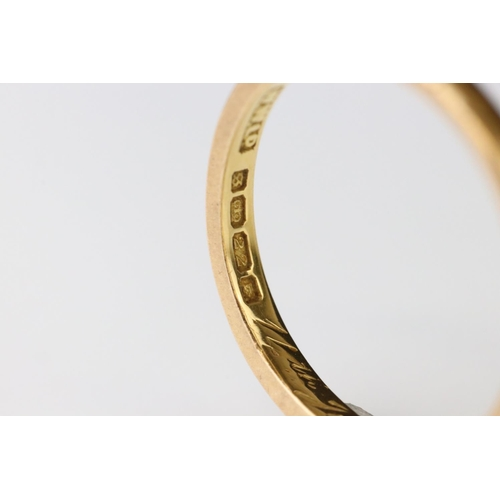 62 - 22ct yellow gold wedding band, personalisation to inner shank, width approx 2mm, ring size Q