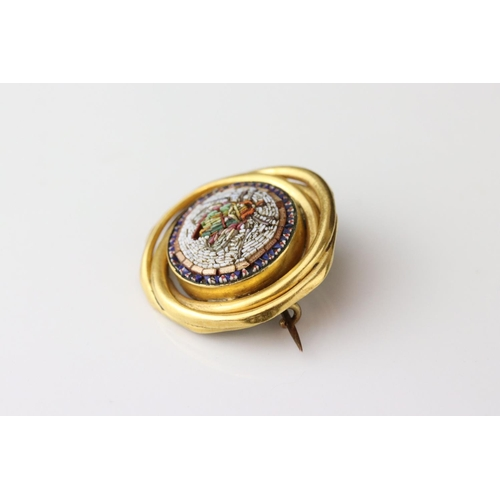 143 - Victorian style micro-mosaic brooch depicting a fly, interwoven yellow metal surround, hinged pin an...