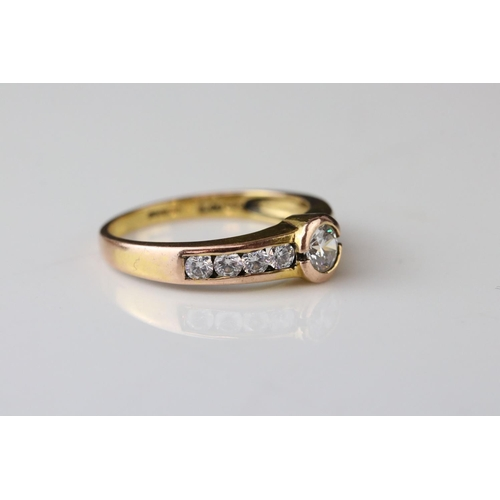 82 - Cubic zirconia 14ct gold ring, collet and channel settings, gem-set shoulders, ring size M; together...