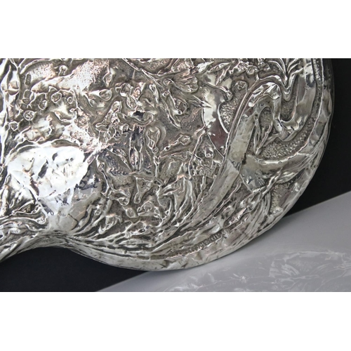 184 - George V silver backed hand mirror, floral and foliate decoration, makers J& R Griffin, Chester 1918