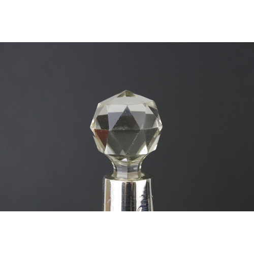 190 - Silver collared cut glass scent bottle, makers Wild & Carr, London 1922, height approx 16cm; togethe...