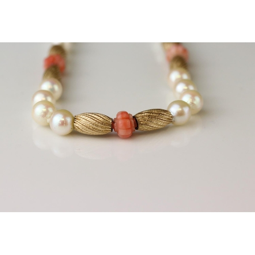 37 - Pearl and coral 9ct yellow gold necklace, cultured cream pearls with pink lustre, carved pink coral ...