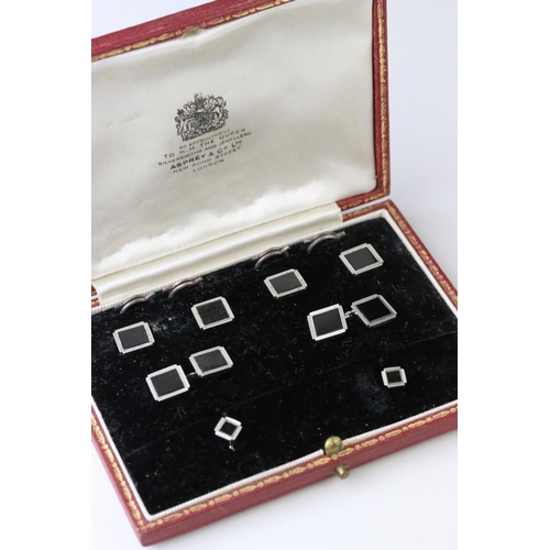 4 - Onyx 9ct carat white gold Gentleman's cufflinks, buttons and dress stud set, square flush set black ...