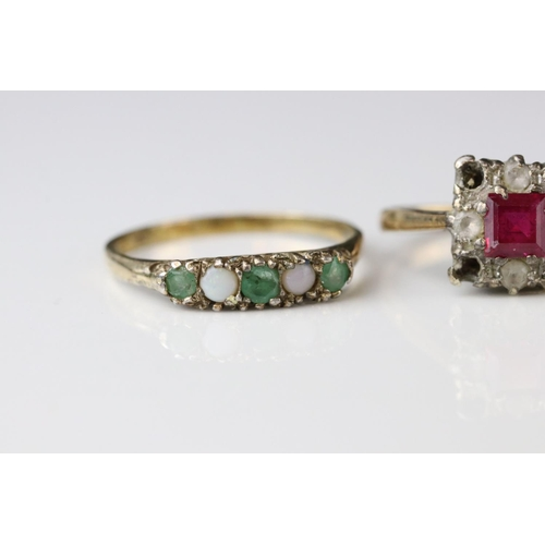 41 - Two 9ct gold dress rings (one af) together with a 9ct gold mount (stone missing) (3)