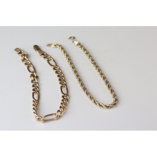 49 - 9ct yellow gold rope twist bracelet, length approx 19cm, together with a 9ct yellow gold figaro link...