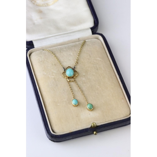 5 - Edwardian turquoise 9ct yellow gold pendant necklace, the principle oval cabochon cut turquoise meas...