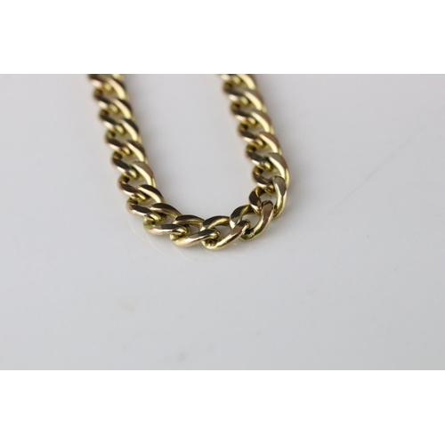 50 - 9ct yellow gold flat curb link necklace, length approx 60cm