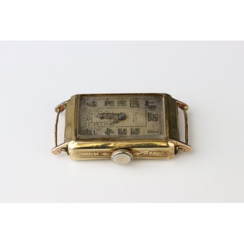 51 - Early 20th century Mappin 9ct gold cased Gents wristwatch, 1918 London import marks, silvered dial, ...