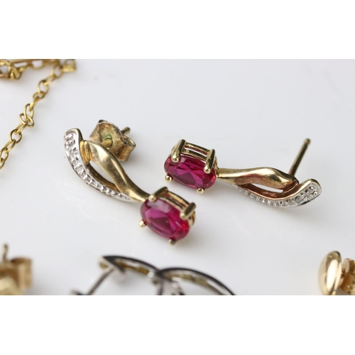 53 - Four pairs of 9ct gold drop and stud earrings to include opals and rubies (4)