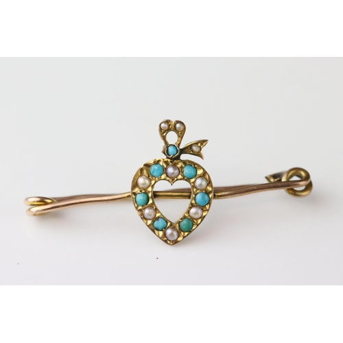56 - Late Victorian turquoise and seed pearl 9ct yellow gold sweetheart brooch, the central heart motif a...