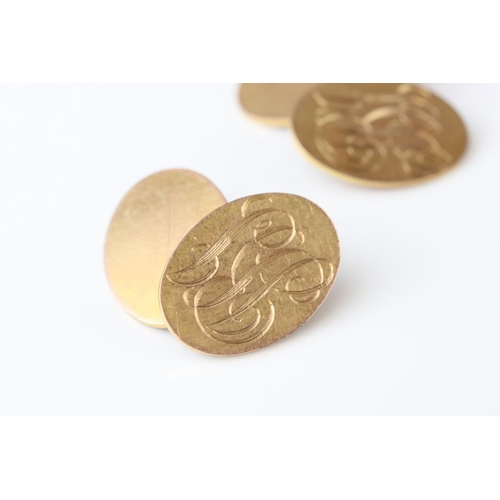 87 - Pair of 9ct rose gold monogrammed oval panel chain link cufflinks, length of each panel approx 1.5cm