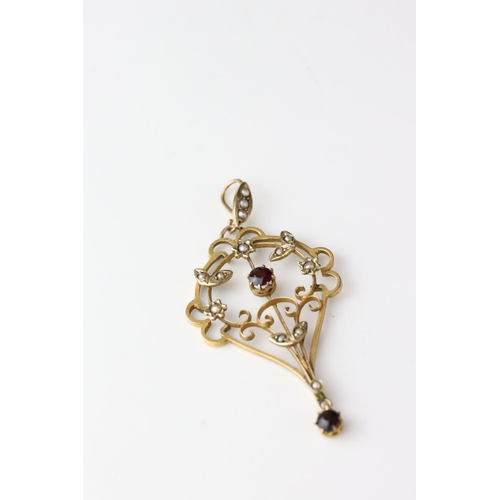 88 - Edwardian garnet and seed pearl 9ct yellow gold sinuous openwork pendant; together with a shell came...