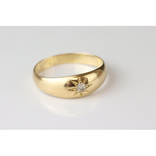 92 - Diamond gypsy ring, yellow metal assessed as gold, small round brilliant cut diamond weighing approx...