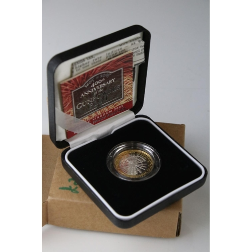 483 - Royal Mint 2005 Silver Proof Piedfort Gunpowder Plot Commemorative £2 Coin. Mint and Cased Condition...