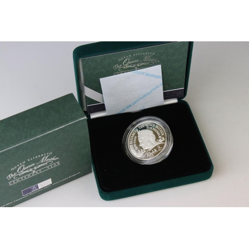 484 - Cased Royal Mint 2000 Queen Mother's 100th Birthday Silver Piedfort Crown Coin.