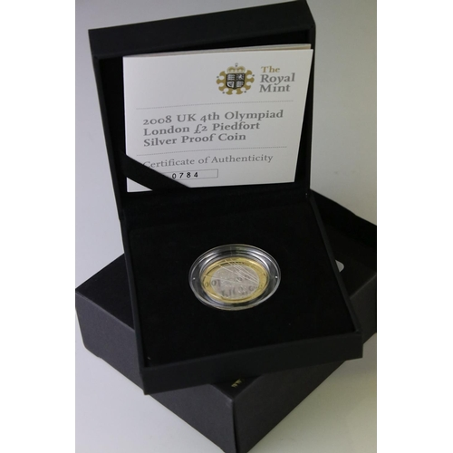 486 - Royal Mint 2008 Silver Proof Piedfort Olympiad Commemorative £2 Coin. Mint and Cased Condition.