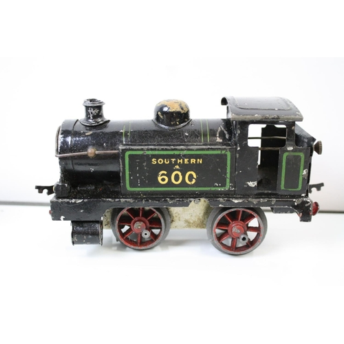 46A - Three Hornby O Gauge clockwork engines to include Type 501 1842, Type M1 and Southern 600, all with ...