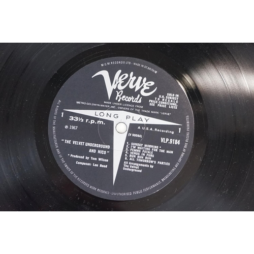 109 - Vinyl - The Velvet Underground & Nico produced by Andy Warhol LP on Verve VLP9184 mono, non banana s...