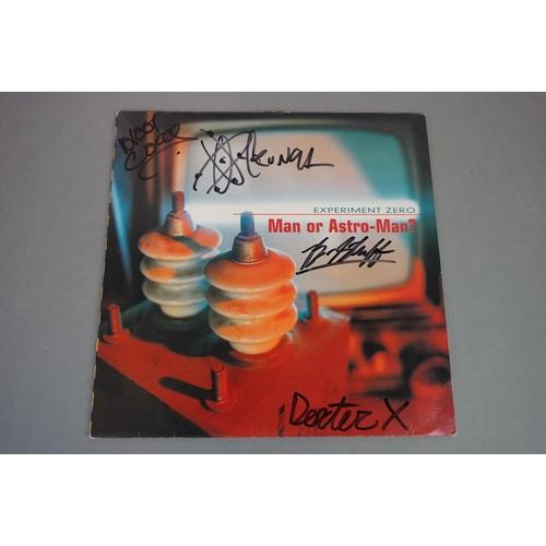 128 - Signed Vinyl - Man Or Astro Man? Experiment Zero LP on Louder 12, yellow vinyl, some damage to sleev...