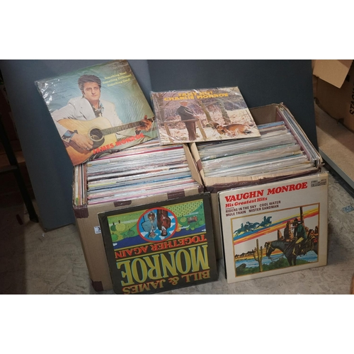 378 - Vinyl - Over 200 LPs featuring Country and other genres, sleeves and vinyl vg+ (two boxes)