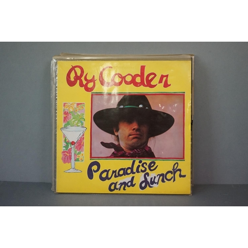 344 - Vinyl - Collection of 10 Ry Cooder LP's plus a 10 inch EP to include Paradise and Lunch, Chicken Ski...