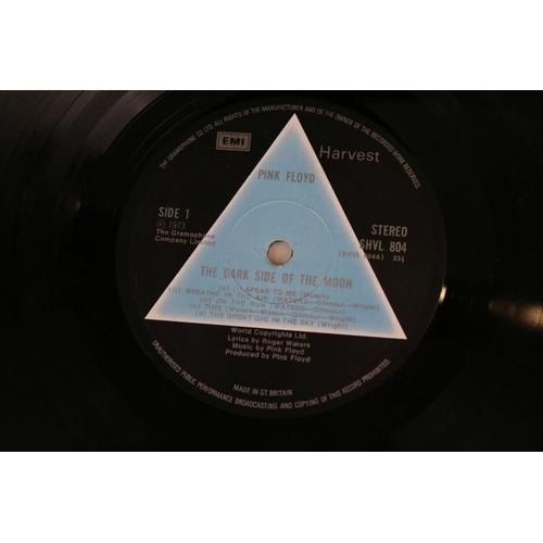 1 - Vinyl - Pink Floyd Dark Side of The Moon LP on Harvest SHVL804 Stereo, solid light blue triangle, no...