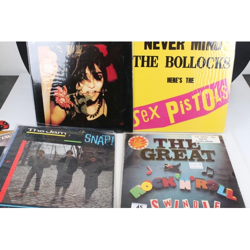 45 - Vinyl - Punk 17 LP's including The Jam x 9, Sex Pistols & related x 3 (including V2086 purple vinyl)...
