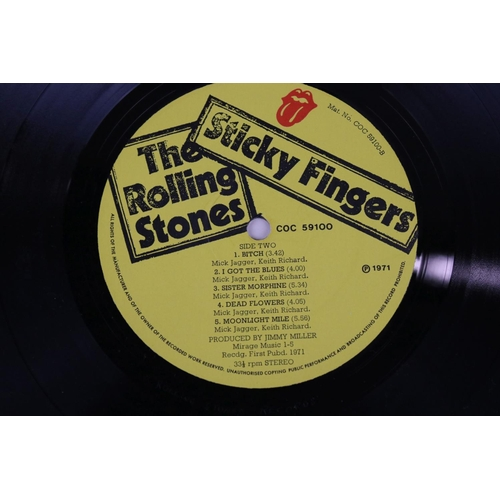48 - Vinyl - The Rolling Stones Sticky Fingers (COC 59100) zip sleeve, insert included.  Sleeve & Insert ...