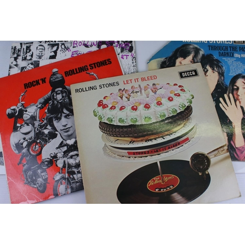 487 - Vinyl - 10 x The Rolling Stones LP to include no 1, no 2, Exile on Main Street, Let It Bleed, Big Hi...