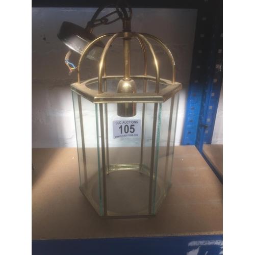105 - Brass & Glass Light Fitting...