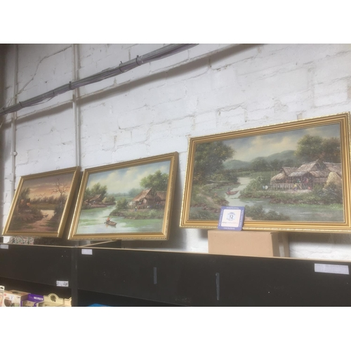 12 - 3 x Gilt Framed Paint on Board Pictures...